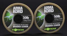 Korda ARMA Kord 30lb 50lb Brown Intrecciato leader Carpa basso MATCH lenza da pesca