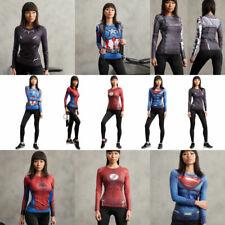Women Ladies Compression Superhero Mavel T-shirts Casual Sport Gym Yoga Tops Tee