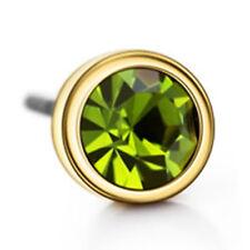16k Yellow Gold plated Green Austrian Crystals Diamond Simulant Stud Earrings