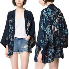 Vintage Women Floral Loose Shawl Kimono Cardigan Chiffon Coat Jacket Boho Blouse