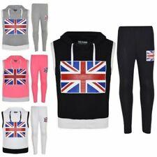 Kids Girls Boys England Flag Print Sleevesless Hooded Top & Legging Set 7-13 Yr