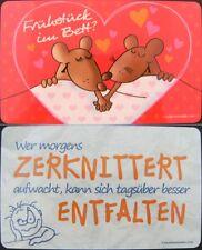 1 Frühstücksbrettchen Mäuse Bett, Zerknittert, Brettchen 23x14cm Brett Maus neu
