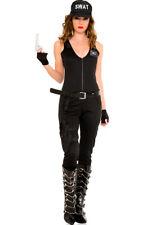 Womens Music legs police swat black jumpsuit costume