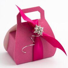 FUCHSIA TEXTURED HANDBAG WEDDING DIY FAVOUR BOXES PARTY BOX