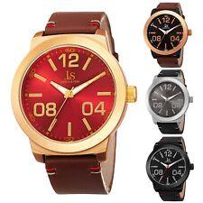 Men's Joshua & Sons JX103 Classic Quartz Genuine Stitched Leather Strap Watch