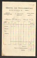"""PARIS (I°) HOTEL DE STRASBOURG """"A. POUYET Propriétaire"""" en 1930"""