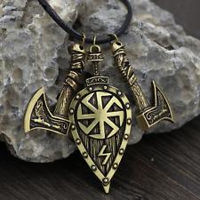 Viking Odin Shield & Axes Pendant Necklace - UK Stock