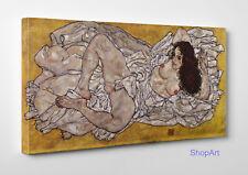 Quadro Egon Schiele Donna Sdraiata Stampa su Tela Canvas Vernice Effetto Dipinto