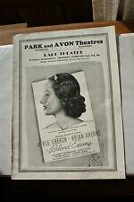 Old Vintage Program Movie Ad Flyer 1936? Park & Avon Theatres Waukesha Wisconsin