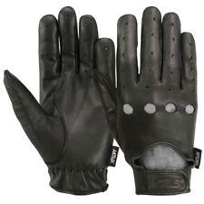 Mens Driving Gloves Basic Bikers MRX Motorcycle Glove Full Finger Leather Black