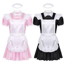 Sexy Men Sissy Maid Waiter Cosplay Dress Halloween Costume Apron Headband Outfit