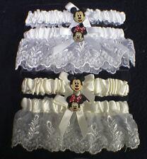 Mickey Minnie Wedding Bridal Garter SET SM -XL White or Ivory Disney