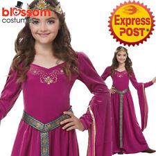 CK950 Pink Medieval Princess Renaissance Maiden Gown Girls Book Week Costume