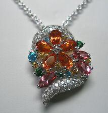 NUEVO Plata de Ley Original Coloreadas Topacio Floral Collar con Corazón