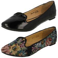 Ladies Spot On Flat Slip On Loafers