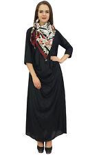 Bimba Designer Women's Cowl Maxi Black Dress With Printed Tassel Scarf