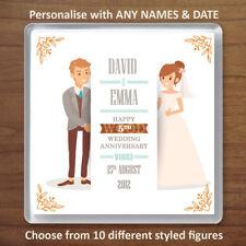 Personalised 5th (Wood) Wedding Anniversary Drinks Coaster Gift Present