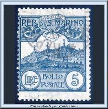 1903 San Marino Veduta L. 5 ardesia Catalogo n. 45  Usato Firmato Diena