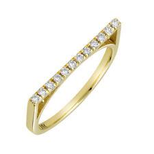 Women 1.5mm 14K Gold Wedding Band 0.15 cttw Diamond Pave Set Flat Top Ring