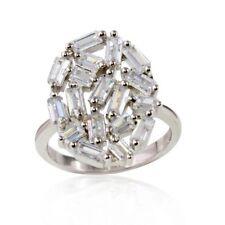 Sterling Silver Baguette Cut CZ Stones Oval Shape Ladies Ring