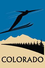 Colorado Speed Flying Ski Skiing Jumping Winter Sport Vint Poster Repro FREE SH