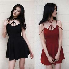 Japanese Vintage Harajuku Punk Gothic Lolita Summer Sexy Sleeveless Slim Dress