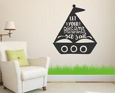 Let Your Dreams Set Sail Sailor Nautical Wall Sticker Decal Vinyl Art Transfer
