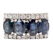 3.30 Carat Blue Sapphire Natural Diamond Cocktail Ring 18k White Gold
