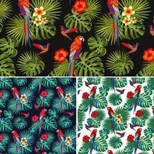 100% Cotton Poplin Fabric Rose & Hubble Parrots Perched Rain Forest Fern Leaves
