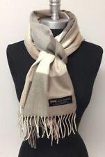 100%Cashmere Scarf Plaid Khaki Tan Cream SCOTLAND MADE Wool Wrap &Head-wrap