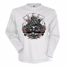* Biker T-Shirt Vintage Harley-Chopper-Motiv Motorrad * 4245 wh LS