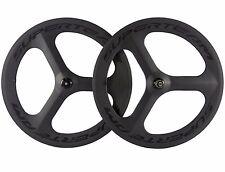 700C Tri Spoke Carbon Fiber Wheelset Road Bike /Track Bike Carbon Wheels