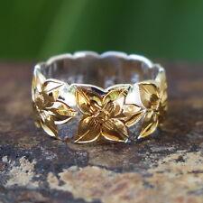 Hawaiian Silver Gold Plated Plumeria Flower Cut Out Wedding Ring Band 8mm SR1305