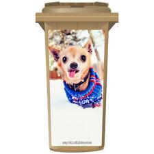 Chihuahua dans la neige wheelie bin autocollant panneau