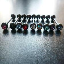 Zungenpiercing Titan Schwarz Zirkonia Kristall Farbwahl Barbell 1,6 x 16 Stein