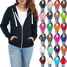 Ladies Womens Solid Zipper Sweat Shirt Jacket Zip Hoodie Hooded Coat Sweater Top