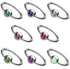 Piercing anneau strass 8 couleurs au choix pour lèvre nez nombril ou arcade