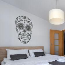 Sugar Skull w/ Mustache Vinyl Wall Decal - Day of the Dead skeleton sticker K673