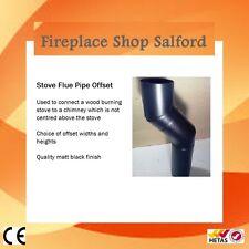 "5 INCH & 6"" STOVE FLUE PIPE OFFSET BLACK FOR WOOD BURNING STOVES"