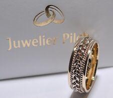 1 Trauring - Hochzeitsring Gold 585 mit hangemachtem Zopf - Bicolor - Breite 7mm