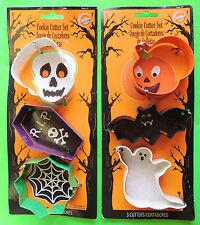 3pc Halloween Cookie Cutter Set Pumpkin Bat Ghost OR Skull Coffin Spider Web etc