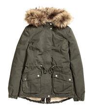 H&M Winterjacke / Parka mit Teddyfutter Gr.32-44 *2 Farben* khaki / beige *NEU!*