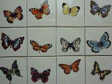 Beautiful Handmade Butterfly Tiles 10cm x 10cm