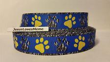 "Grosgrain Ribbon, Zebra & Yellow Doggie Paw Prints on Blue, Zebra Border, 7/8"""