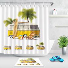 Hippie Surfer Beach Palm Surfboard Fabric Shower Curtain Set Bath Accessory Sets