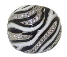 Animal Print Dome ring white gold plate Swarovski stones Size 5 6 7 8 NEW