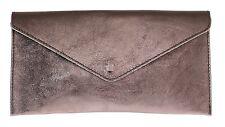 Italian Genuine Leather Metallic Wristlet Clutch Bag Shimmer Rose Gold Designer