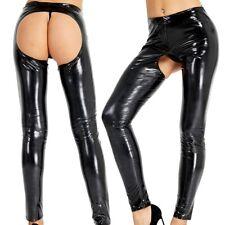 Women's Wet Look PVC Leather Open Crotch & Butt Trousers Long Leggings Pants