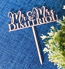 Personalised Mr & Mrs Rose Gold Wedding Cake Toppers - Wood / Acrylic