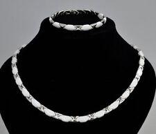 Collier Halskette Armband Edelstahl silber Keramik weiß Kette Edelstahlschmuck